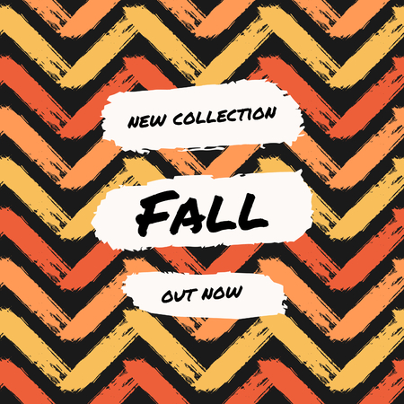 template: Abstract autumn sale design with text on colorful chevron pattern background. Poster, brochure or greeting card square template with sample text.