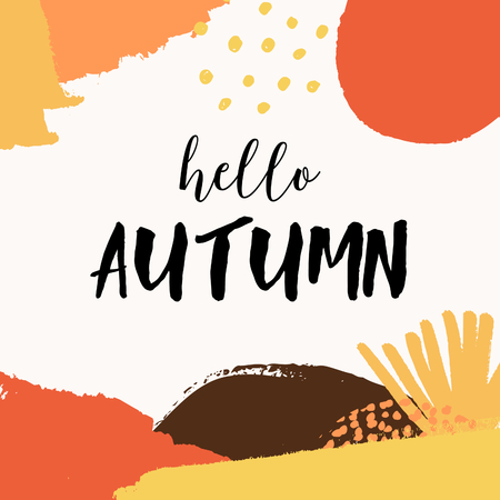 Abstract autumn design with colorful brush strokes in yellow, red, brown and orange on white background. Text Hello Autumn. Modern and creative poster, brochure, greeting card square template. Illustration