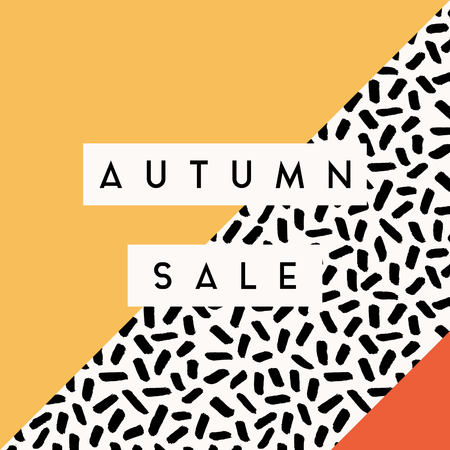 template: Abstract autumn sale design with text on Memphis style geometric background. Poster, brochure or greeting card square template with sample text.