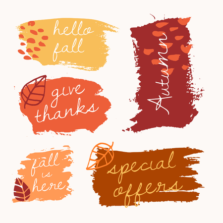 Autumn brush stroke banners with text in yellow, red, brown and orange isolated on white background. Illustration