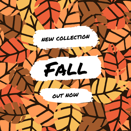 Abstract autumn sale design with text on colorful leaf pattern background. Poster, brochure or greeting card square template with sample text. Illustration