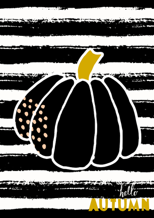 Hello Autumn greeting card design with a pumpkin on striped black and white background.