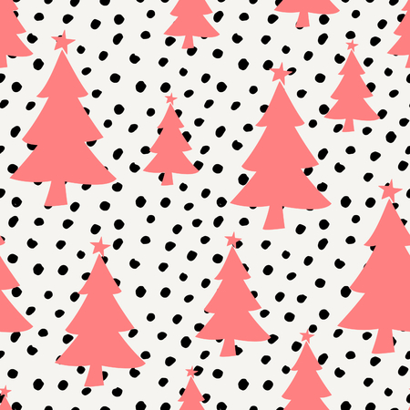 christmas postcard: Winter seamless pattern with red Christmas trees and black dots on white background.