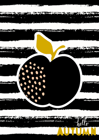 Hello Autumn greeting card design with an apple on striped black and white background.