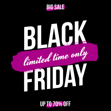 layout: Abstract Black Friday sale design with text in white and purple brush strokes on black background. Poster, brochure or greeting card square template with sample text.