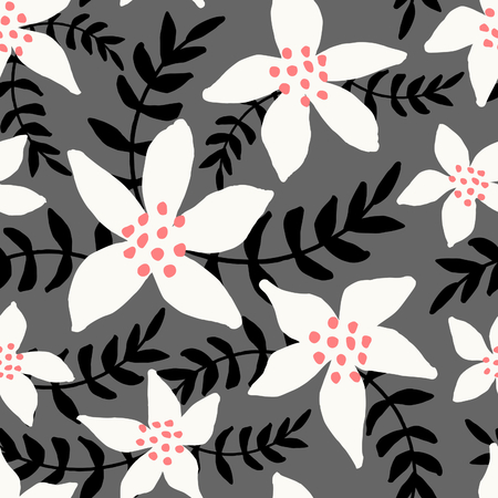 christmas postcard: Winter seamless pattern with white poinsettias and black branches on gray background. Illustration