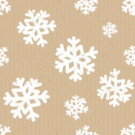 christmas postcard: Seamless repeat pattern with snowflakes in white on craft paper background. Illustration