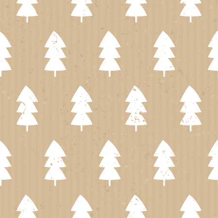 layout: Seamless repeat pattern with Christmas trees in white on craft paper background. Illustration