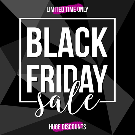 layout: Abstract Black Friday sale design with text in white and purple on black and gray geometric background. Poster, brochure or greeting card square template with sample text.