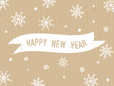 hand print: Happy New Year - typographic design greeting card template with text and snowflakes in white on craft paper background.