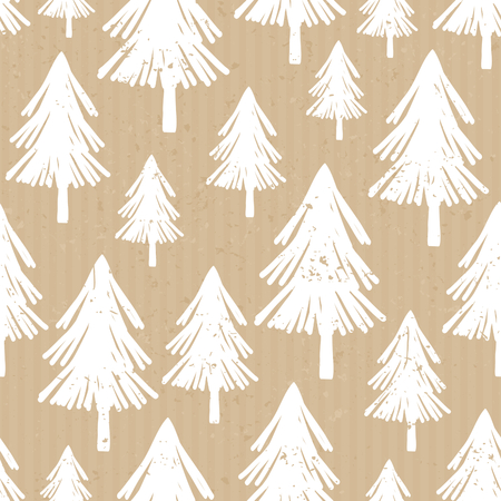 christmas postcard: Seamless repeat pattern with hand drawn Christmas trees in white on craft paper background.