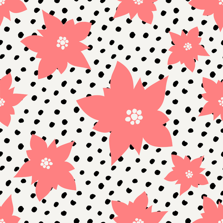christmas postcard: Winter seamless pattern with red poinsettias and black dots on white background. Illustration