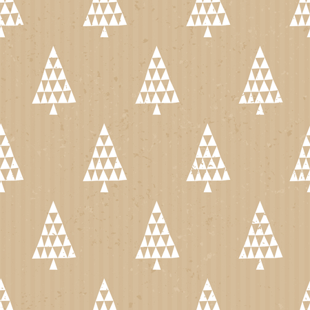 christmas postcard: Seamless repeat pattern with geometric Christmas trees in white on craft paper background.