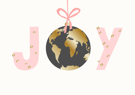 Christmas greeting card template with text Joy and gold and gray globe on white background.
