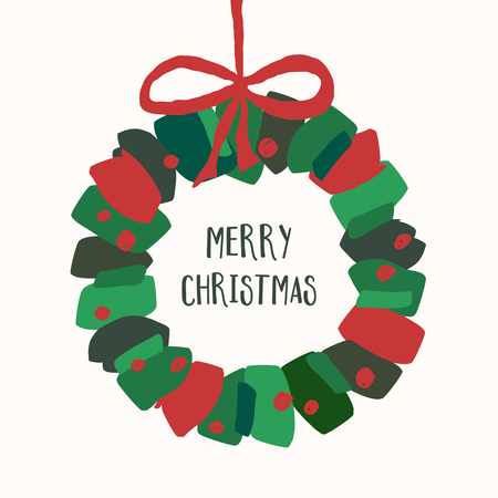 Christmas greeting card template with green and red brushstrokes wreath and text Merry Christmas on white background. Illustration