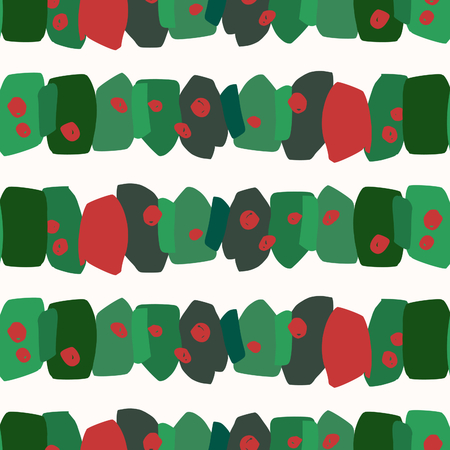 Christmas seamless repeat pattern with green and red brushstrokes and dots on white background. Holiday gift wrap, greeting card, wallpaper design.