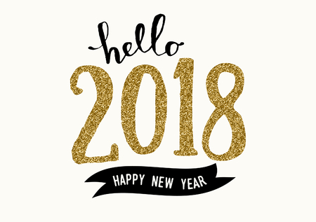 Typographic design greeting card template with text Hello 2018 Happy New Year. Modern style poster, greeting card, postcard design in black, cream and gold glitter.