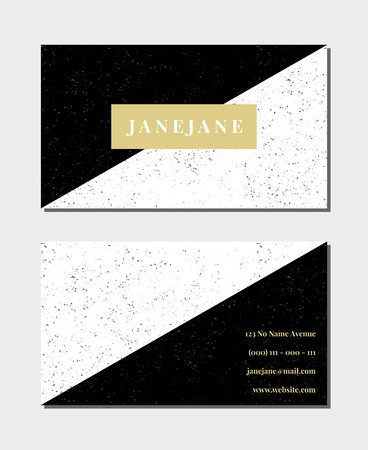 Business card template in black, white and gold, 3,5x2, front and back. Feminine and modern minimalist design, geometric style, speckled texture.