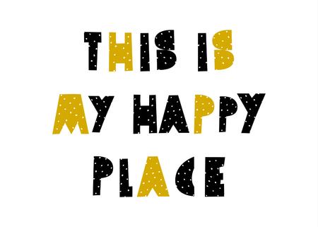 Modèle d'affiche de conception typographique en noir et jaune sur fond blanc. Art mural chambre d'enfant de style scandinave, format A4, décor de chambre d'enfants imprimable.