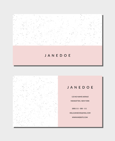 """Business card template in pastel pink and white, 3,5""""x2"""", front and back. Feminine and modern minimalist design, geometric style, speckled texture."""