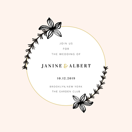 Wedding invitation design template with golden round frame, floral decoration, sample text layout in black and gold, light peach pink background.