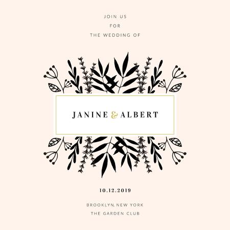 Wedding Invitation Design Template With Floral Frame Sample