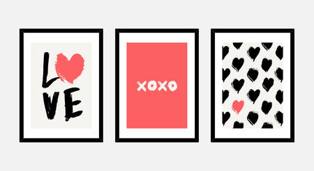 A set of three framed art prints in red, black and white isolated on light gray background. Abstract art posters, printable greeting cards, t-shirt designs. Illustration