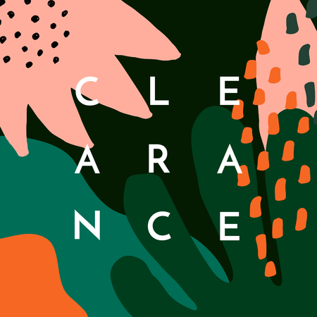 Clearance design template with abstract floral shapes and sample text layout in white. Nature inspired vector illustration, social media post, newsletter, brochure design in pastel pink, green and orange. 向量圖像