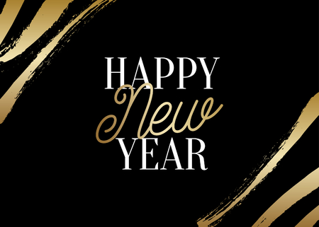 New Year greeting card template with shiny gold brush stroke decoration and text Happy New Year in white and gold on black background. Elegant festive vector flyer, brochure, poster, social media post design.