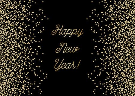 Happy New Year greeting card template with sparkling gold glitter and text in gold on black background. Elegant festive vector flyer, brochure, poster, social media post design.