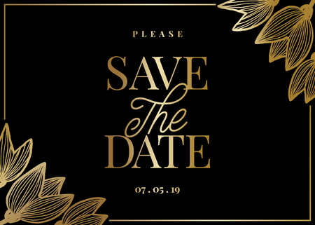 Save the Date template with hand drawn golden tulip shapes and sample text layout on black