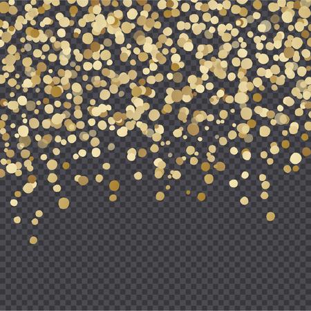 Golden lights isolated on dark transparency grid background. Festive vector overlay, decorative element, border or frame design. 向量圖像