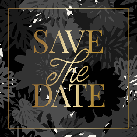 Save the Date template with hand drawn monochrome floral shapes and golden sample text layout. Elegant and creative vector square wedding invitation, bridal shower, thank you card design.