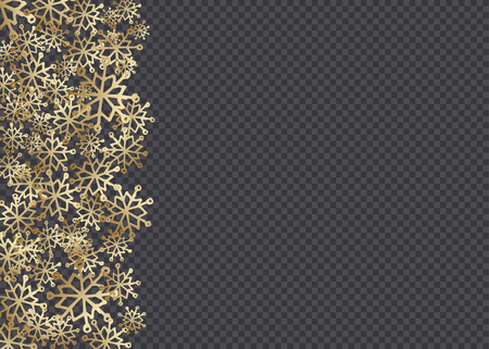 Golden hand drawn snowflakes isolated on dark transparency grid background. Festive vector overlay, decorative element, border or frame design. 向量圖像