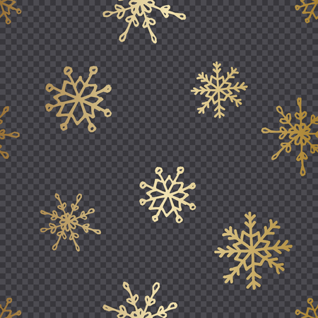 Golden hand drawn snowflakes isolated on dark transparency grid background. Festive vector overlay, decorative element, greeting card or poster design. 向量圖像