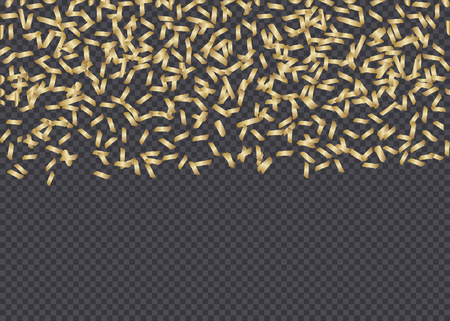 Golden paper confetti isolated on dark transparency grid background. Festive vector overlay, decorative element, border or frame design.