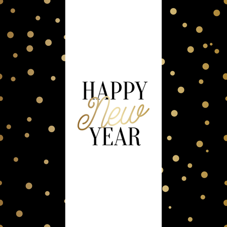 Happy New Year square greeting card template with sparkling gold confetti and text in black and gold on white background. Elegant festive vector flyer, brochure, poster, social media post design.