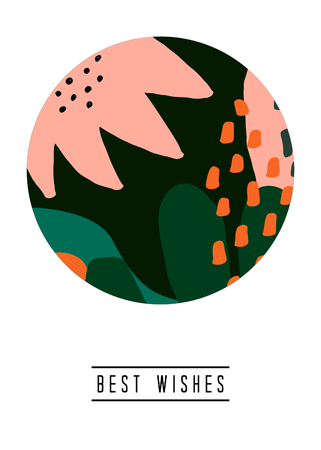 Greeting card template with abstract floral shapes and sample text layout on white background. Nature inspired vector illustration in pastel pink, green and orange.