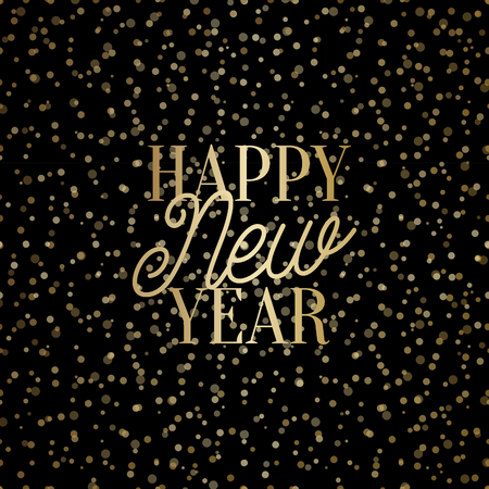 Happy New Year square greeting card template with shiny golden lights and text in gold on black background. Elegant festive vector flyer, brochure, poster, social media post design. 向量圖像