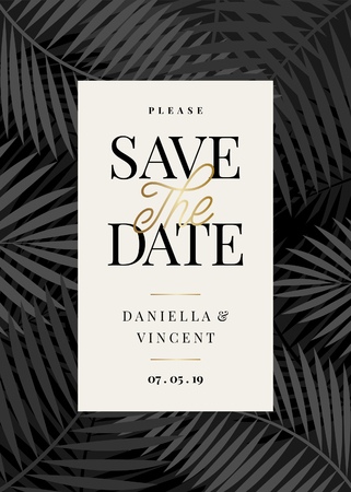 Save the Date template with monochrome palm leaf shapes and sample text layout on cream background. Elegant and creative vector wedding invitation, bridal shower, thank you card design. 向量圖像