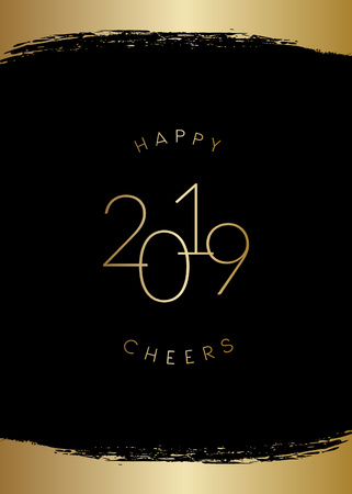2019 New Year greeting card template with shiny gold brush strokes decoration and text Happy 2019 Cheers in gold on black background. Elegant festive vector flyer, brochure, poster, social media post design.