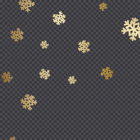 Golden snowflakes isolated on dark transparency grid background. Festive vector overlay, decorative element, greeting card or poster design.