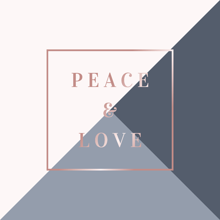 Christmas design with text Peace & Love in rose gold on geometric