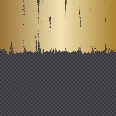 Hand drawn golden brush strokes isolated on dark transparency grid background. Festive vector overlay, decorative element, frame design.