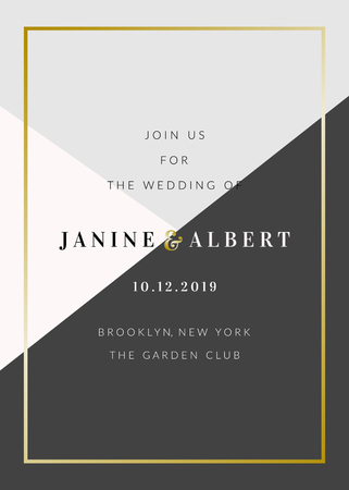 Wedding invitation template with geometric elements in black and gray, gold decoration, sample text layout. Vector greeting card, bridal shower, brochure design.