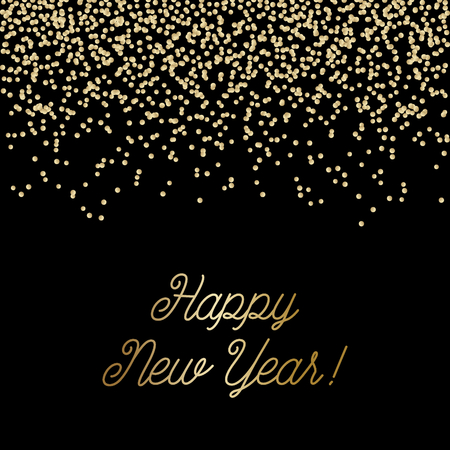 Happy New Year square greeting card template with sparkling gold glitter and text in golden on black background. Elegant festive vector flyer, brochure, poster, social media post design. 向量圖像