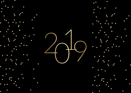 2019 New Year greeting card template with sparkling gold glitter and text 2019 in gold on black background. Elegant festive vector flyer, brochure, poster, social media post design. 向量圖像