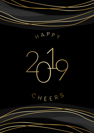 2019 New Year greeting card template with sparkling gold decoration and text Happy 2019 Cheers in gold on black background. Elegant festive vector flyer, brochure, poster, social media post design.