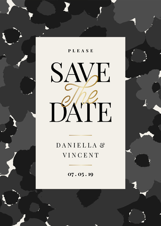 Save the Date template with hand drawn monochrome floral shapes and sample text layout on cream background. Elegant and creative vector wedding invitation, bridal shower, thank you card design.