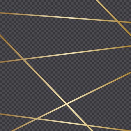 Golden lines isolated on dark transparency grid background. Festive vector overlay, decorative element, frame design.